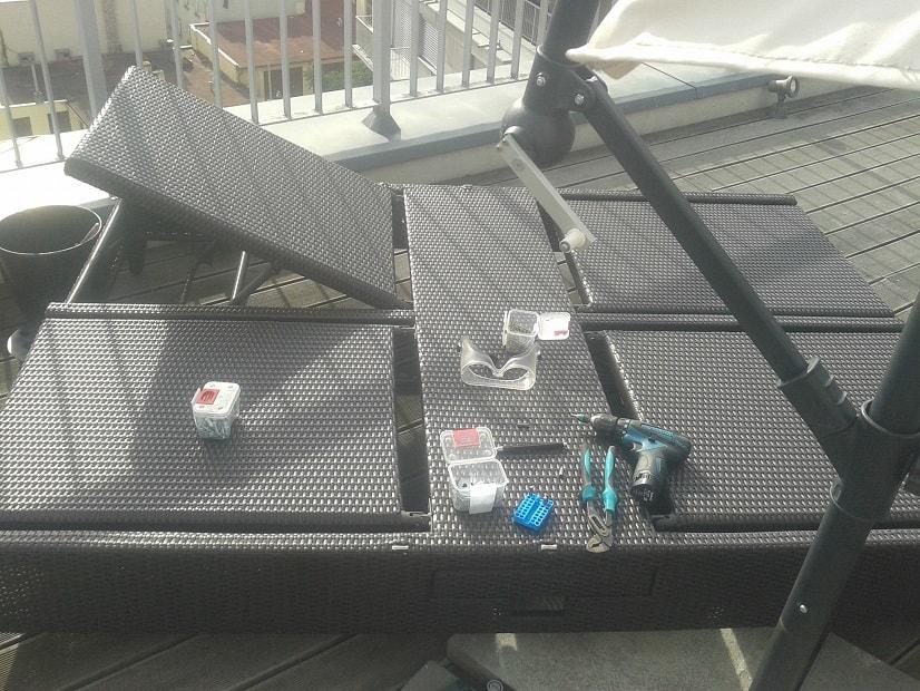 Oprava navíjecího mechanismu slunečníku